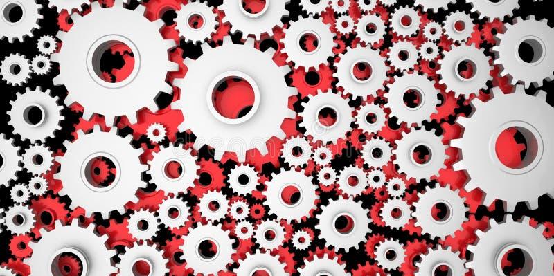 Silver och röd mekanisk 3D tillverkning, metallkugghjul förser med kuggar kuggar på svart bakgrund royaltyfri illustrationer