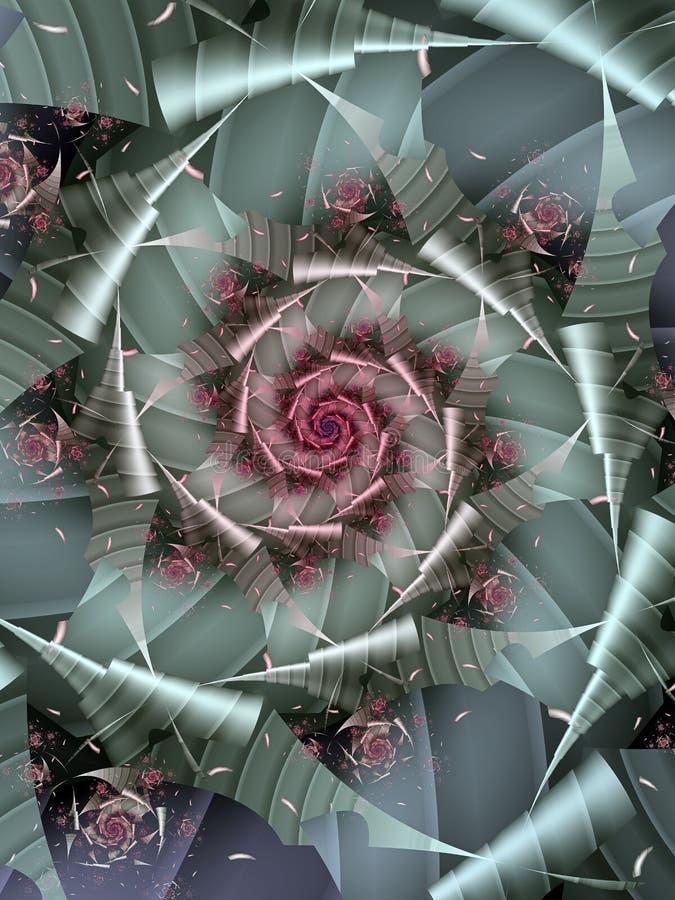 Silver och rosa färgspiral stock illustrationer
