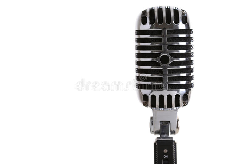 Silver old fashioned stage microphone closeup stock image