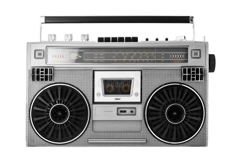 Silver old-school ghetto blaster or boombox with clipping path. Silver retro ghetto blaster or audio boombox isolated with clipping path stock photos