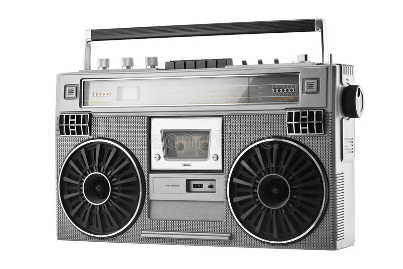 Silver old-school ghetto blaster or boombox isolated on a white. Silver retro ghetto blaster or audio boombox isolated on a white background royalty free stock photo