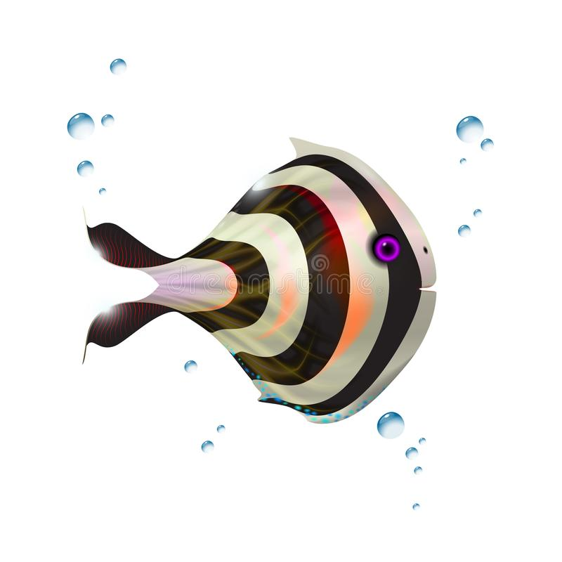 Silver orange little glossy 3d fish. Cartoon funny illustration of sea animal. Marine stock optimized from to be used in banner stock illustration
