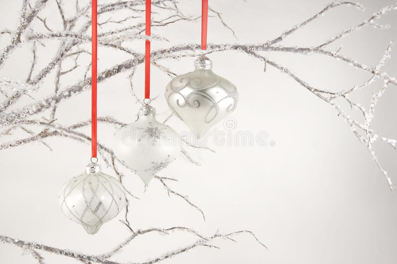Download Silver Ornaments On Crystal Branches Stock Photo - Image: 22063130