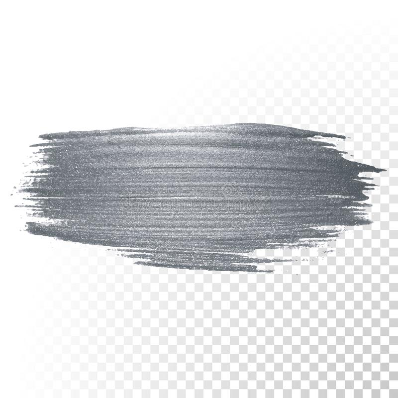 Silver paint brush stain or smudge stroke and abstract paintbrush glittering ink dab smear with glitter texture on transparent bac. Kground. Vector isolated stock illustration