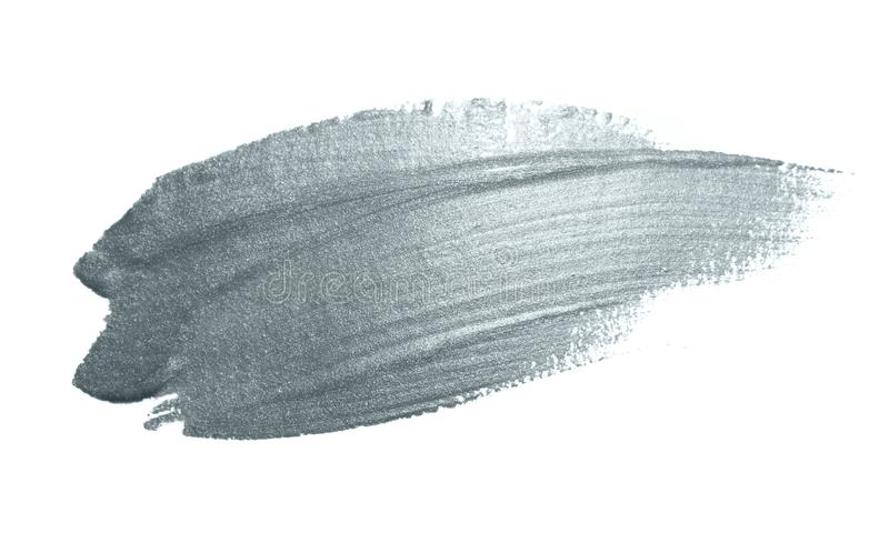 Silver paint brush stain or smudge stroke and abstract paintbrush glittering ink dab smear with glitter texture on white backgroun. D. Isolated sparkling silver royalty free stock photography