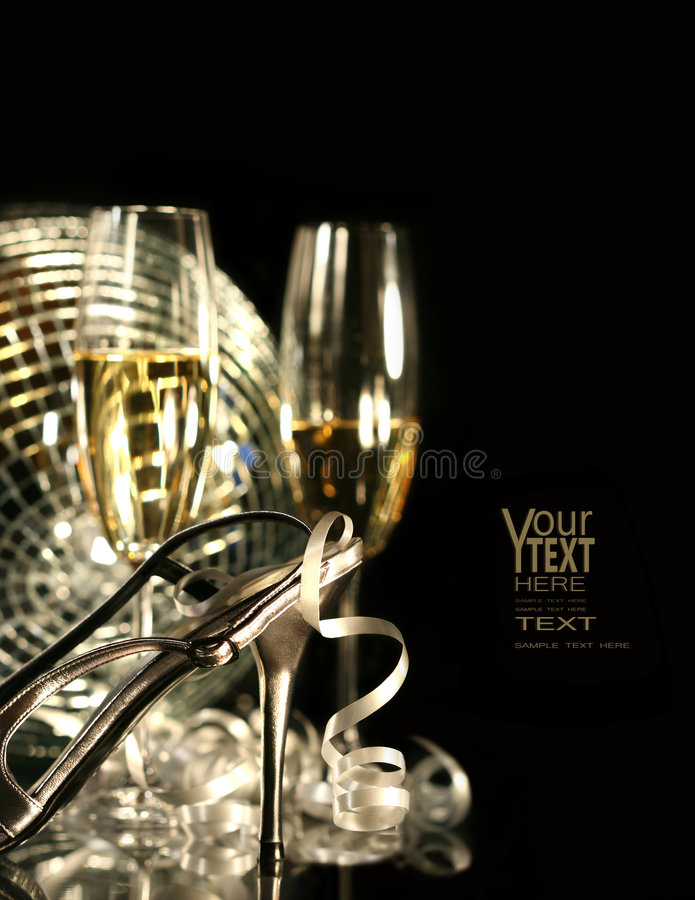 Silver party shoe with glasses of champagne stock photos