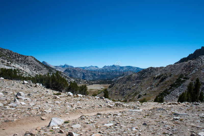 Silver Pass on The John Muir Trail. Beautiful view from Silver Pass on the John Muir Trail in Kings Canyon National Park in the high sierra mountains stock photo