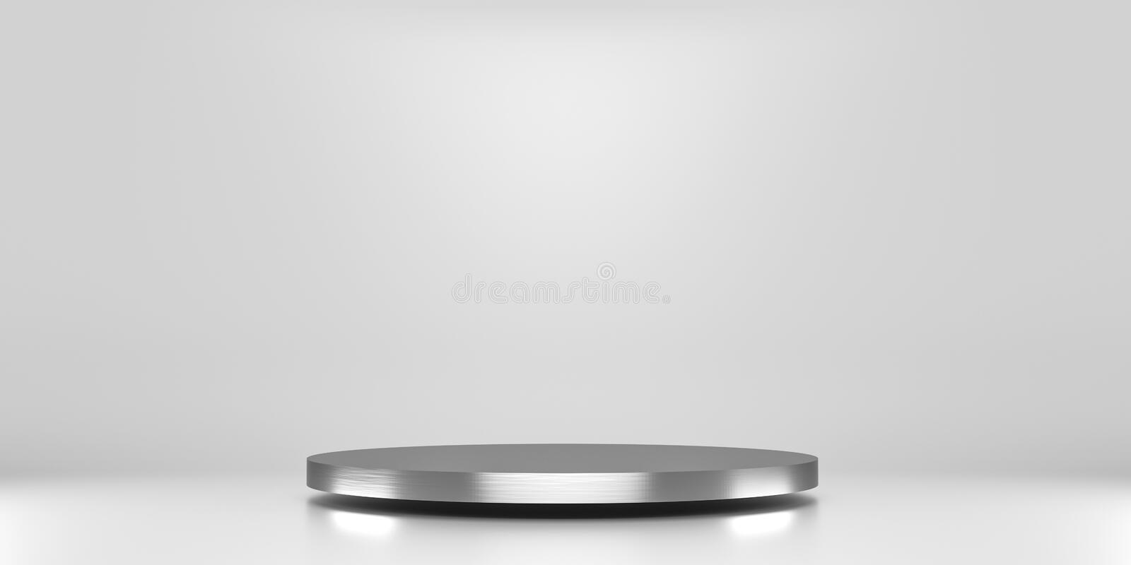 Silver pedestal of platform display with luxury stand podium on white room background. Blank Exhibition or empty product shelf. 3D stock illustration