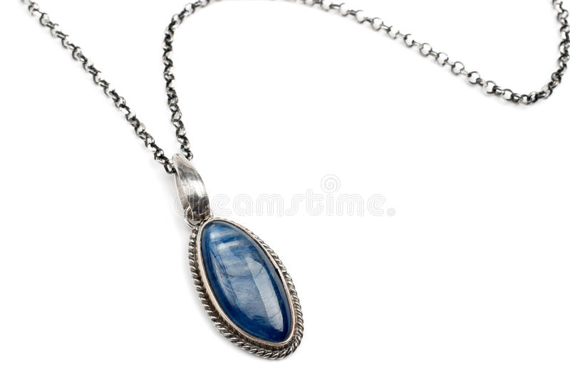 Silver pendant with kyanite stock photo