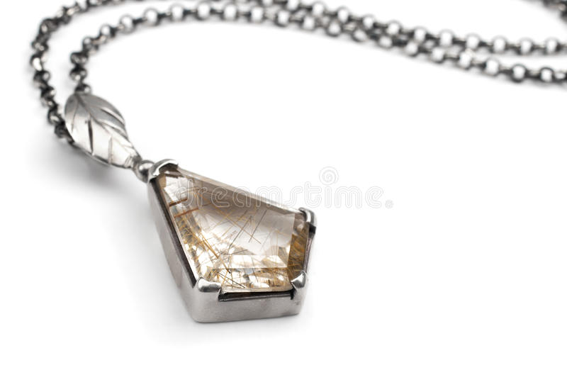Silver pendant with quartz royalty free stock photography