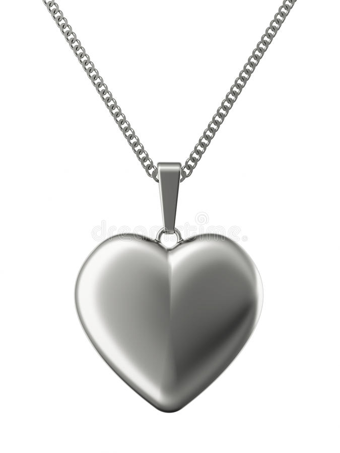 Silver pendant in shape of heart on chain vector illustration
