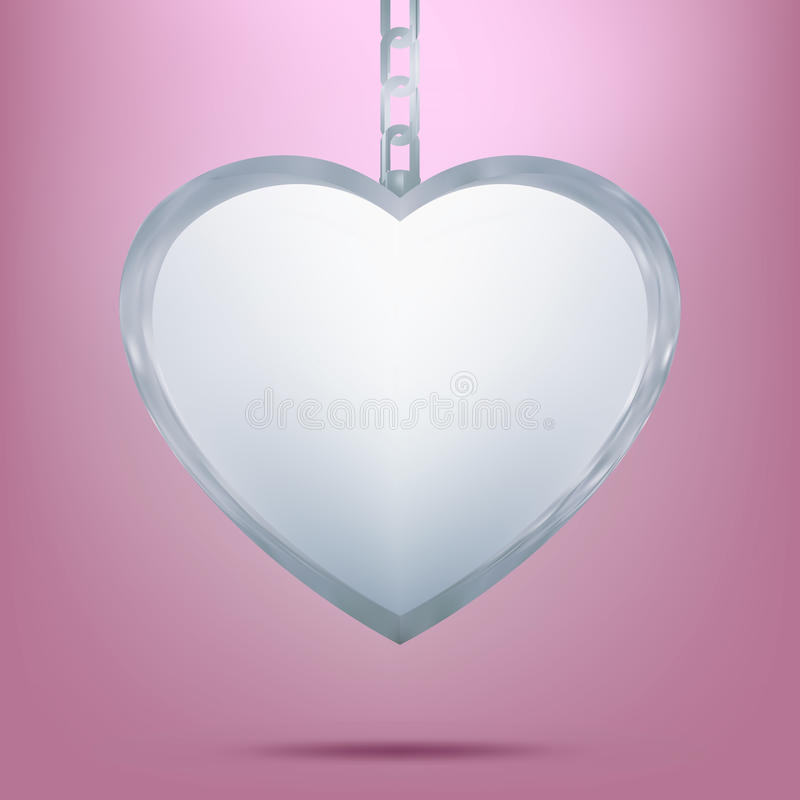 Silver pendant in shape of heart on chain. EPS 8 vector illustration