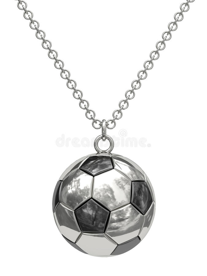Download Silver Pendant In Shape Of Soccer Ball On Chain Stock Illustration - Illustration: 14636857