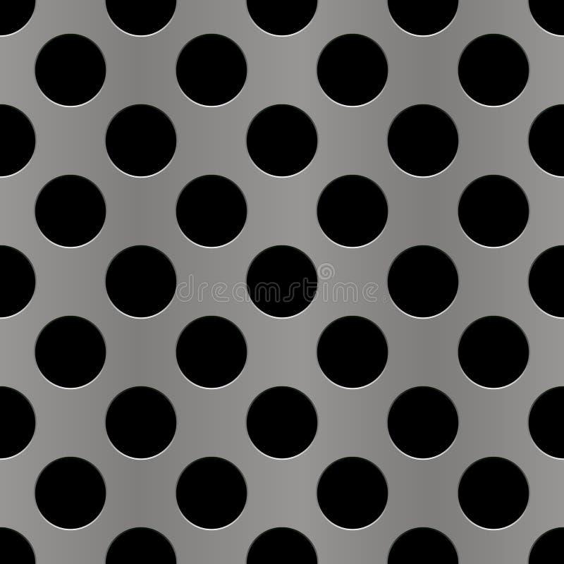 Silver perforated metal seamless background. Steampunk style. Metallic grunge texture. Brass latticed pattern. Techno stock illustration