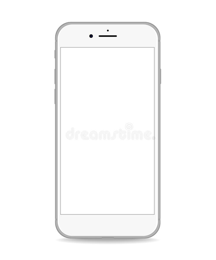 Silver phone white screen realistic vector vector illustration
