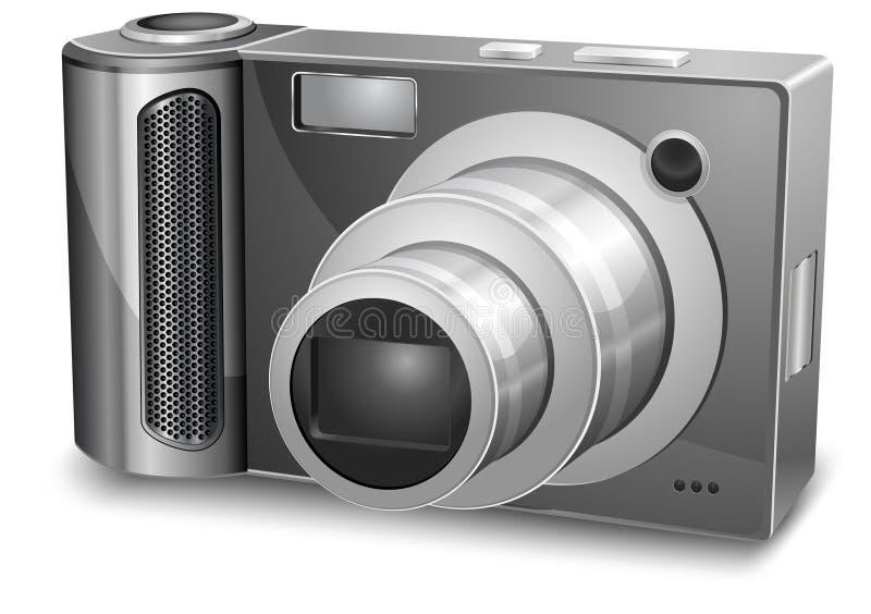 Silver photo camera stock illustration