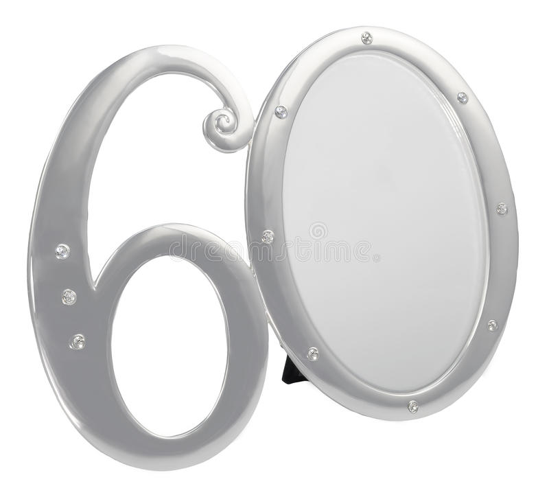 Download Silver Photo Frame Birthday 60 Anniversary Isolation Black Background. Gilded Frame Inlaid Stones Stock Photo - Image of birth, angle: 97238288