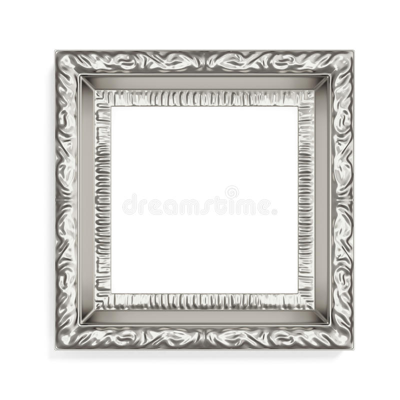 Free Silver Photo Frame With Pattern On White Background. 3d Renderin Royalty Free Stock Image - 67105276