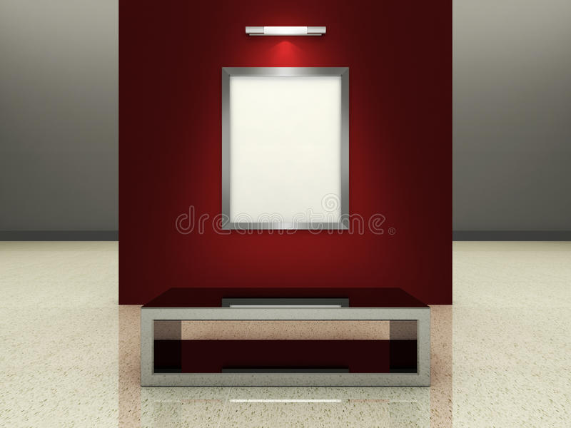 Silver picture frame in a modern gallery royalty free illustration
