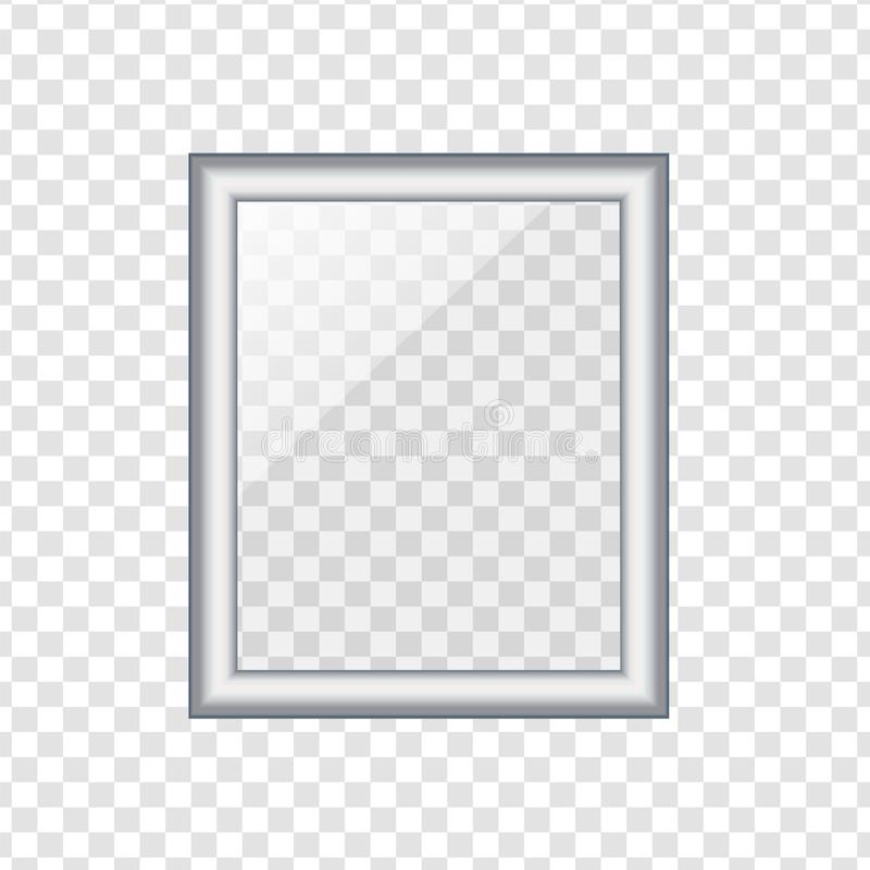 Silver picture or photo frame isolated on transparent background royalty free illustration