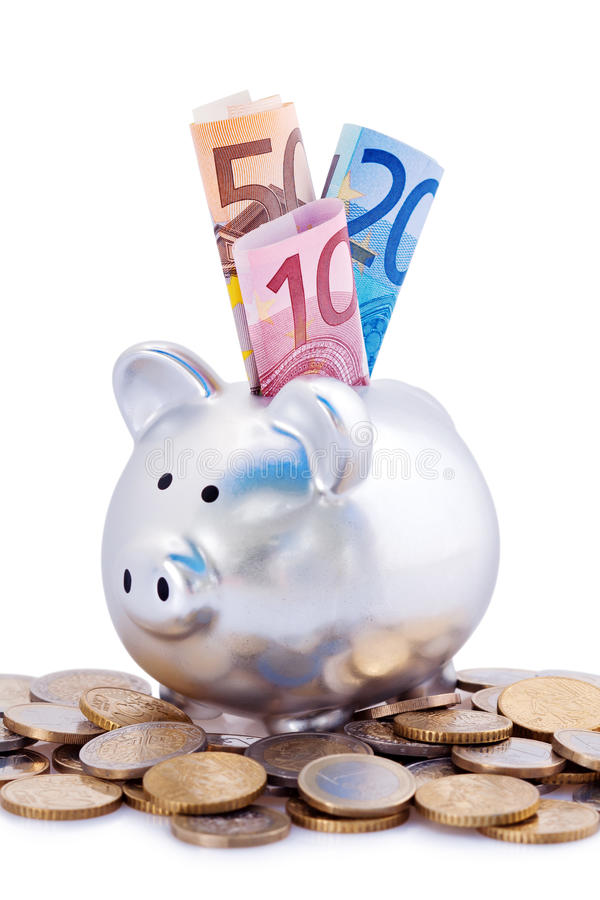 Silver piggy bank with Euros royalty free stock image