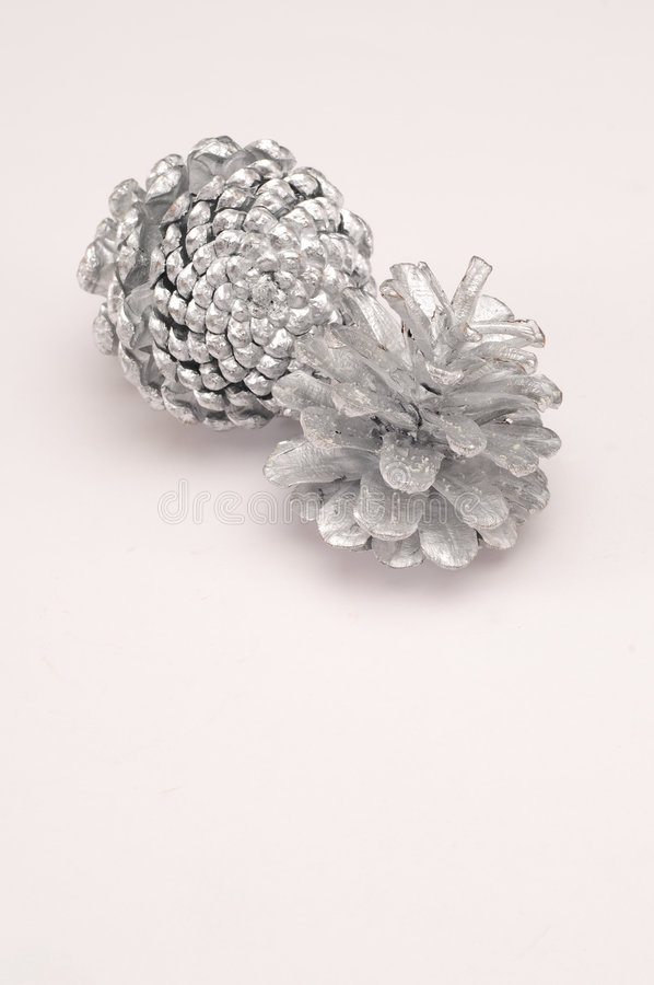 Silver Pine Cone Stock Photography