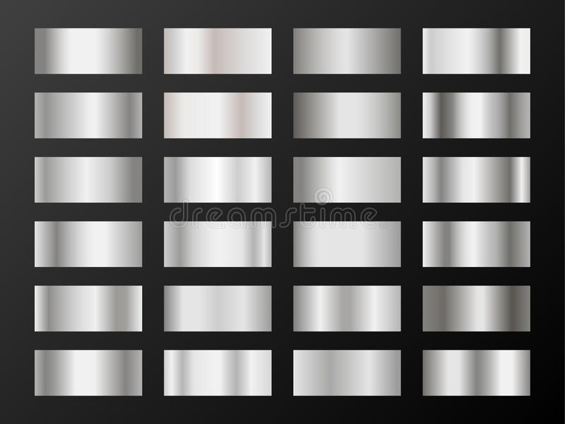 Silver platinum gradients. Metallic foil texture silver, steel, chrome gradient swatches. vector illustration