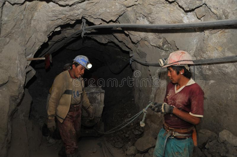 Silver production in mine. royalty free stock image