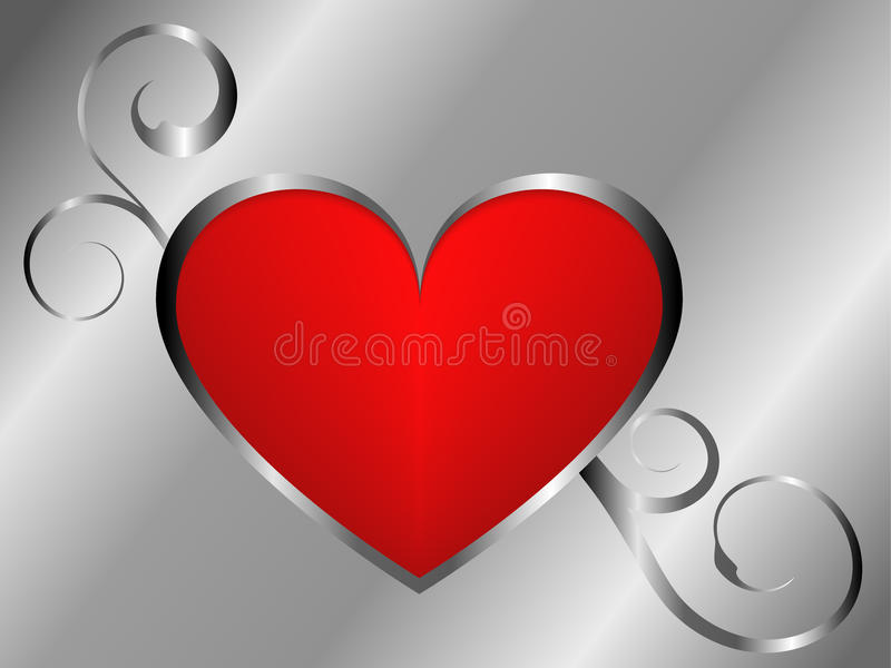 Silver and red love background royalty free stock images