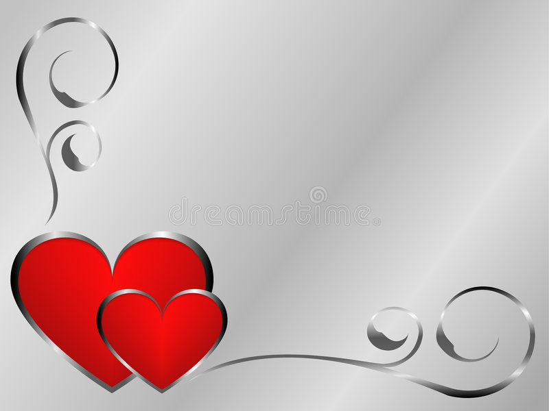 Silver and red valentines stock photo