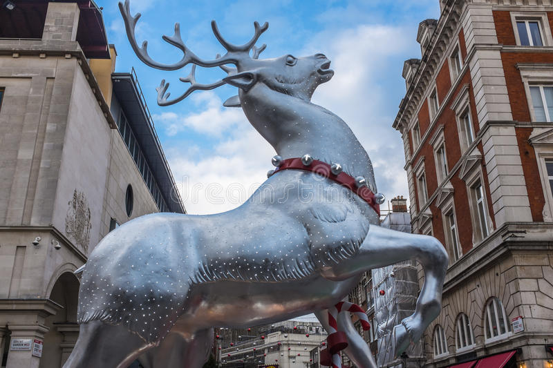 Silver Reindeer Christmas decoration London royalty free stock photography