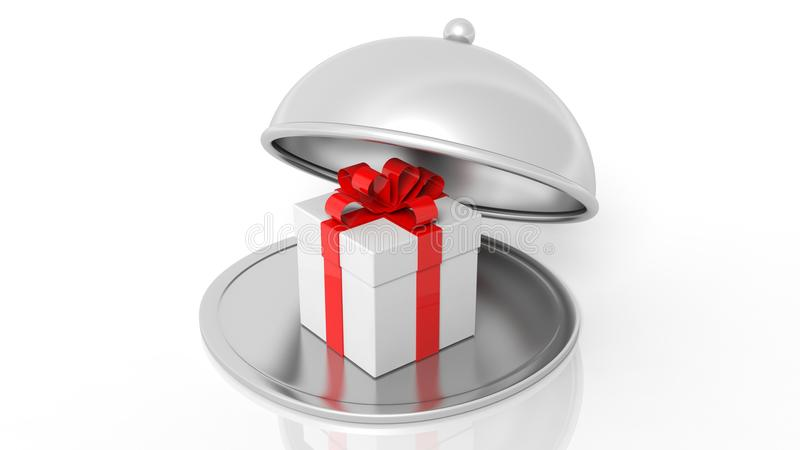 Silver restaurant cloche with gift box. Isolated on white background stock illustration
