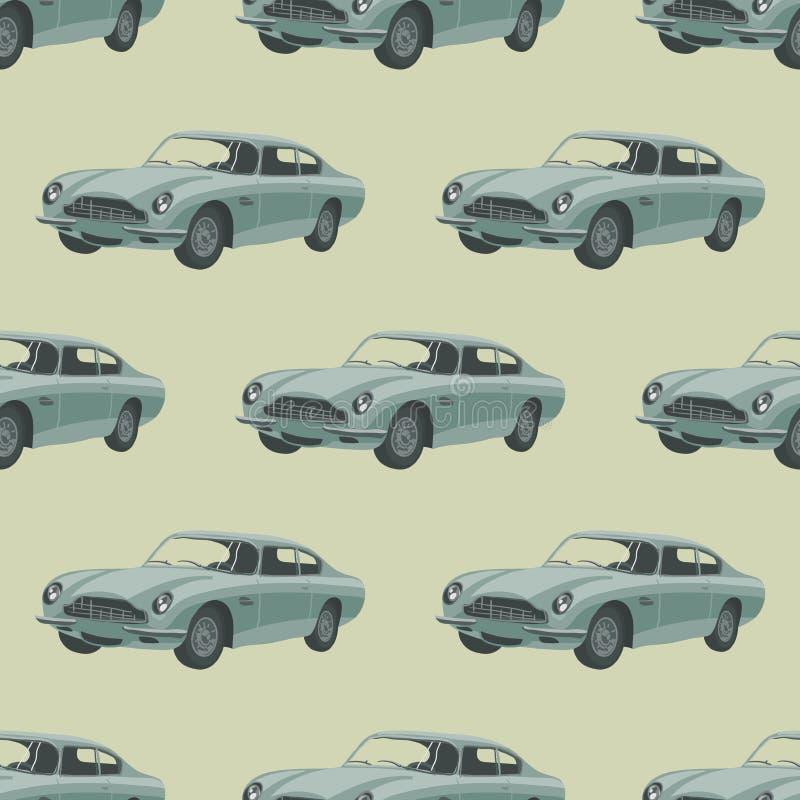 Silver retro sport car. Seamless pattern with car. stock photos
