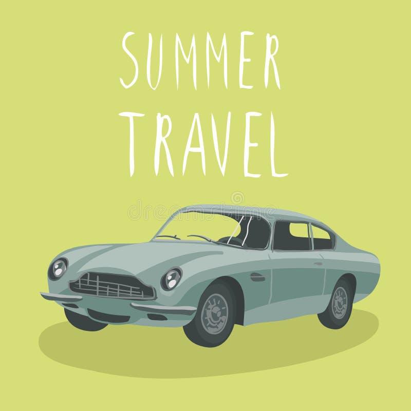 Silver retro sport car . Vector illustration. Cartoon car royalty free stock image