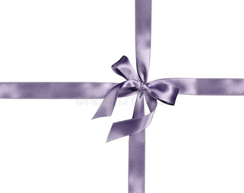 Silver ribbon and bow royalty free stock photo