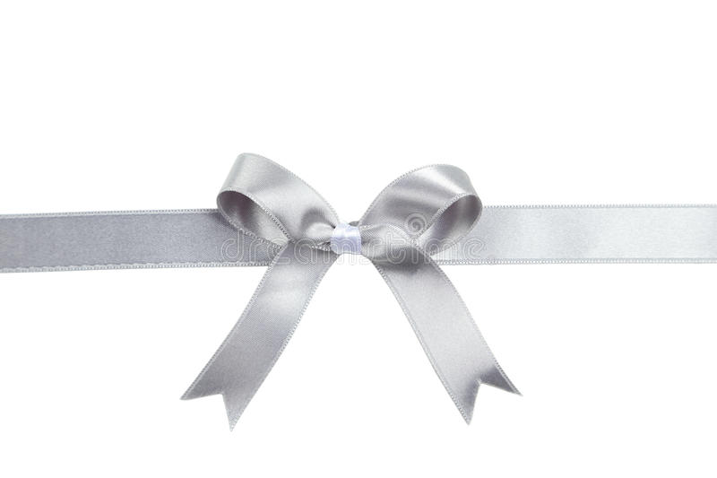 Silver Ribbon With Bow On White Background. Stock Photo ...  Silver Ribbon W...