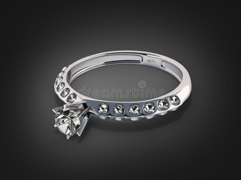 Silver ring with diamond jewelry concept on black background 3d royalty free illustration