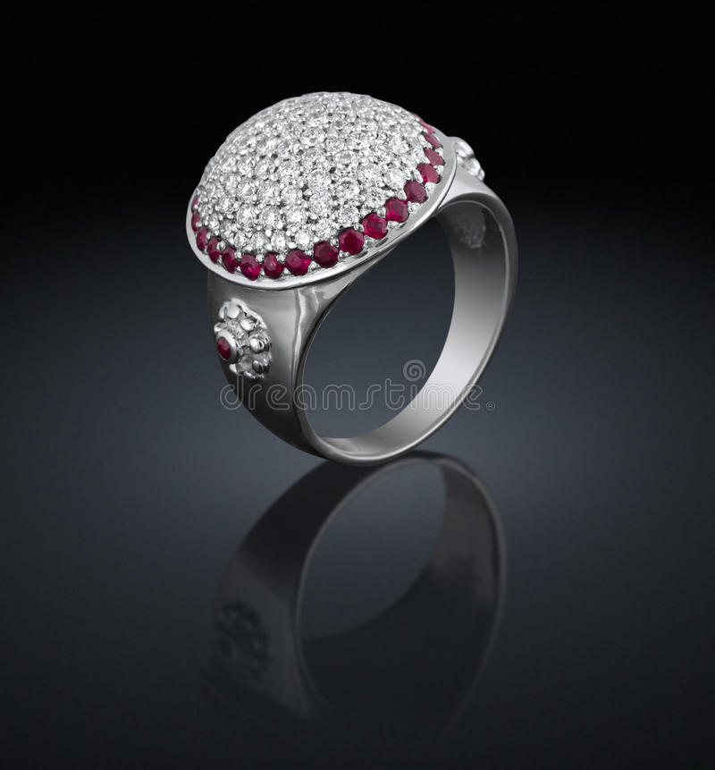 Silver ring with diamonds royalty free stock photo