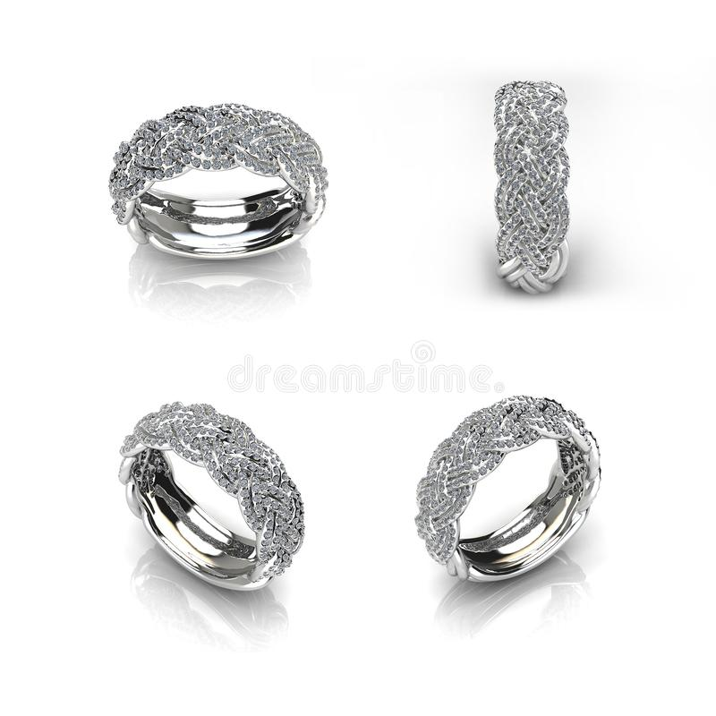 Silver ring with diamonds on white background-3D image. Silver ring with diamonds on white royalty free illustration