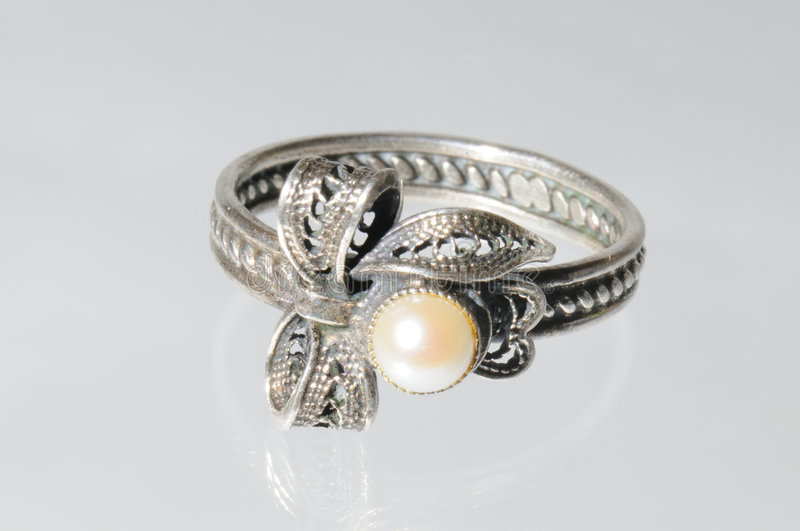 Silver ring with pearls royalty free stock photo