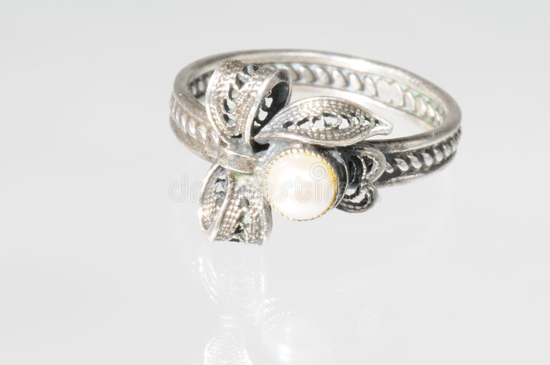 Silver ring with pearls stock images