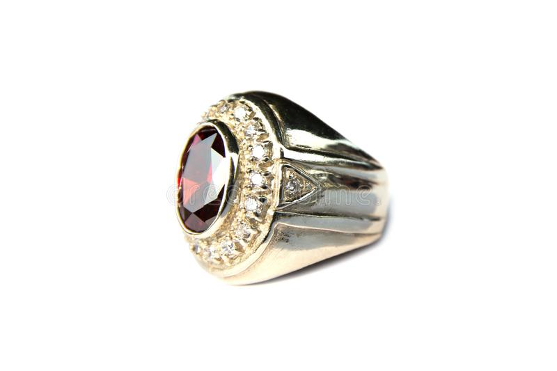 Silver ring with ruby and diamond decoration isolated on white background stock photo
