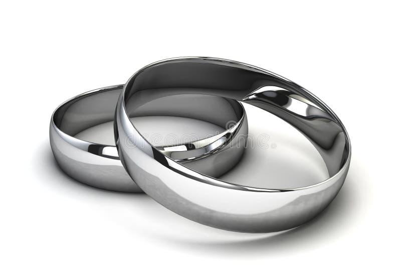 Silver rings. 3d illustration on white background vector illustration