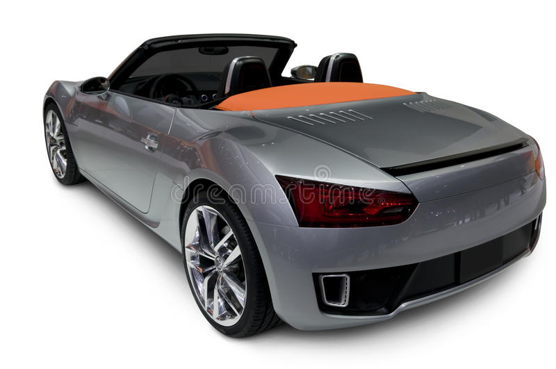 Silver Roadster. A rear view of a silver roadster. See my portfolio for more automotive images royalty free stock image