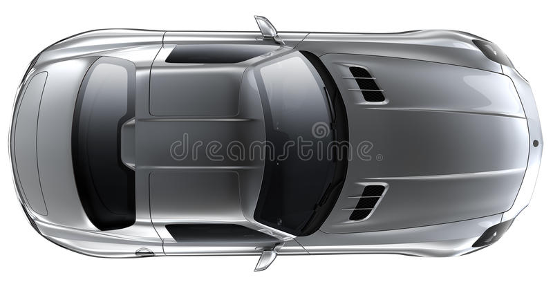 Silver roadster - top view vector illustration