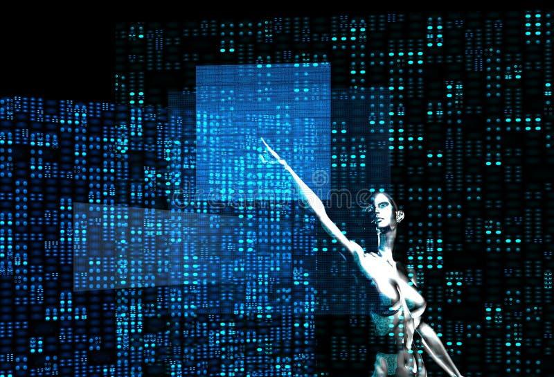 Silver robot girl computing