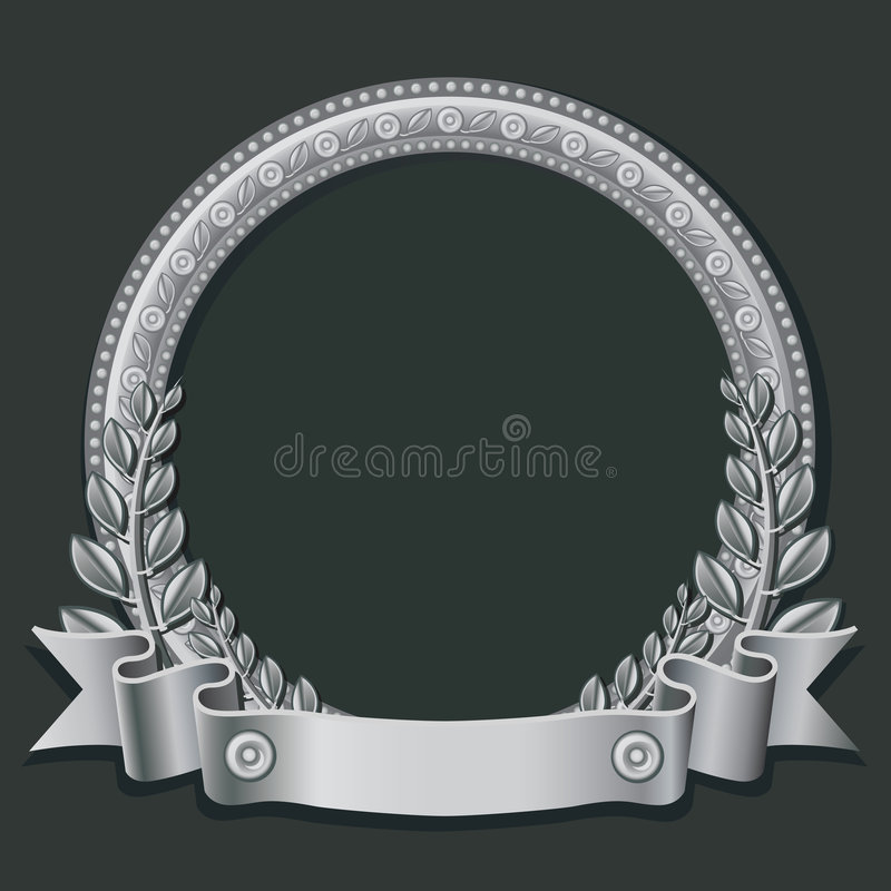 Silver round frame stock illustration