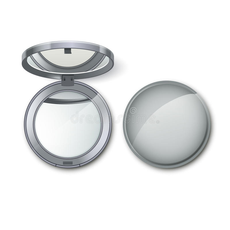 Silver Round Pocket Cosmetic Make up Small Mirror vector illustration