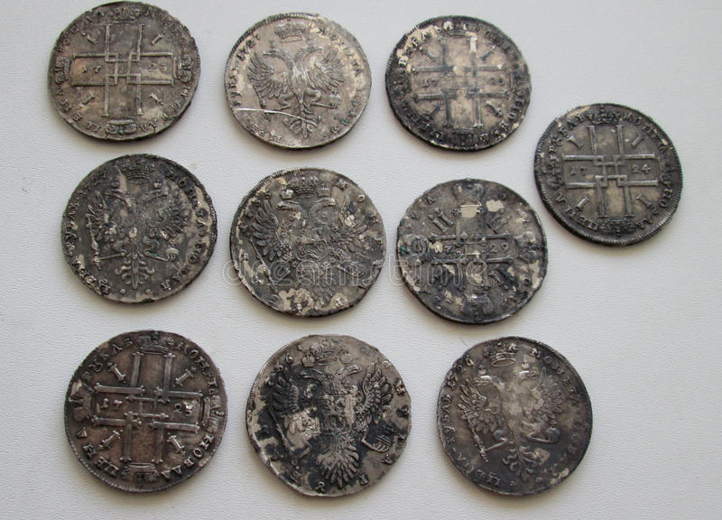 Silver rubles of the Russian Empire. royalty free stock photo