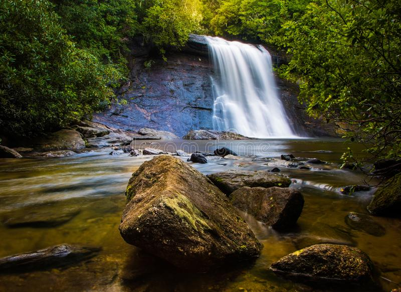 Silver Run Waterfall. Cascades over a 15 foot rock face into an inviting pool royalty free stock photos